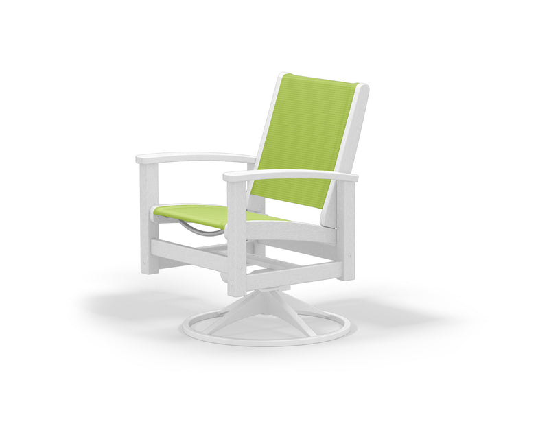 9030-13WH904 Coastal Swivel Rocker in Satin White and White with an Avocado Sling