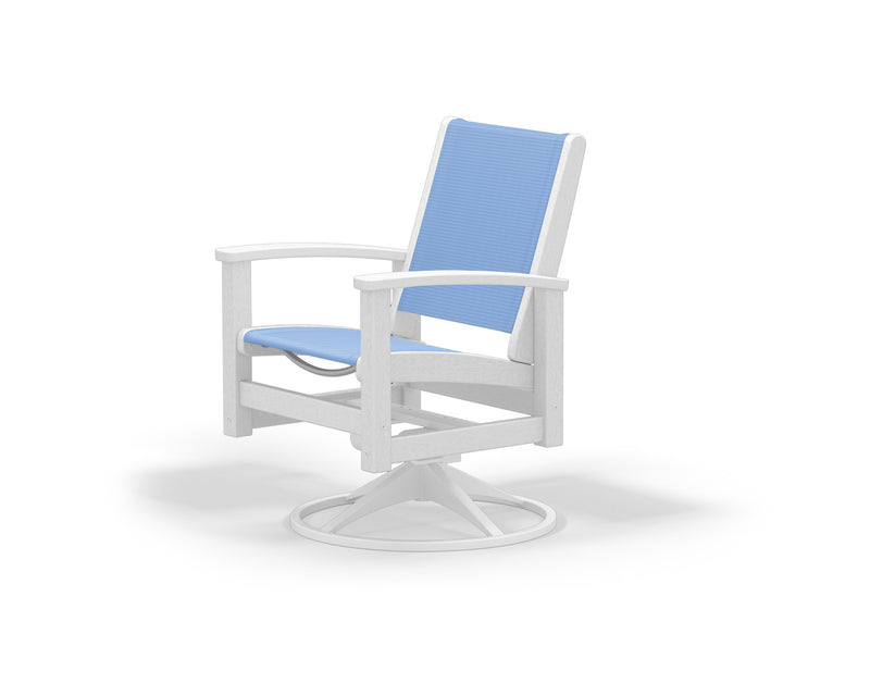 9030-13WH910 Coastal Swivel Rocker in Satin White and White with a Poolside Sling