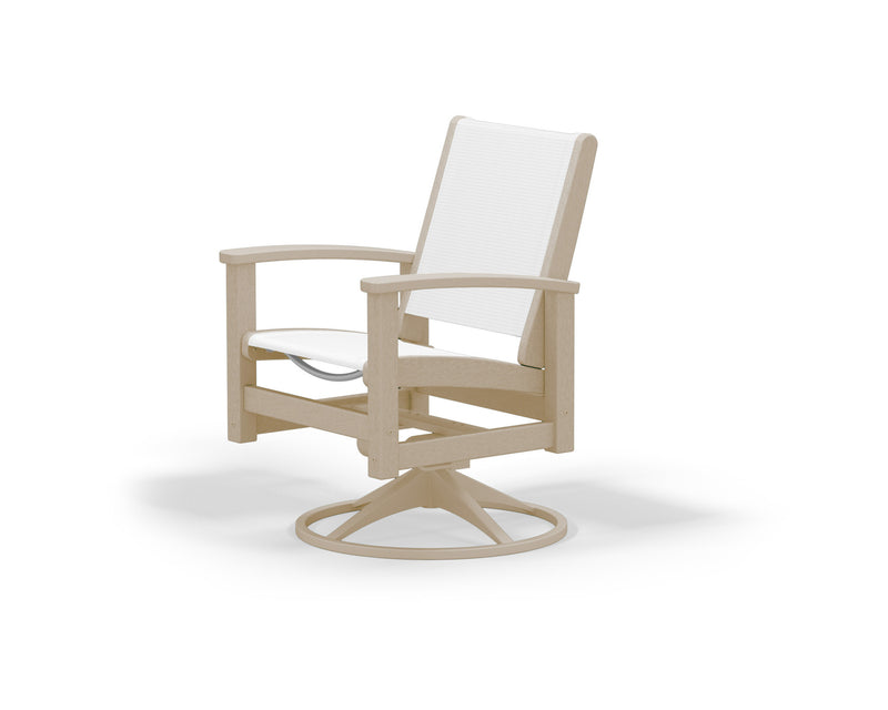 9030-15SA901 Coastal Swivel Rocker in Satin Tan and Sand with a White Sling