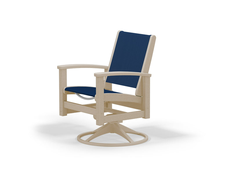 9030-15SA902 Coastal Swivel Rocker in Satin Tan and Sand with a Navy Blue Sling