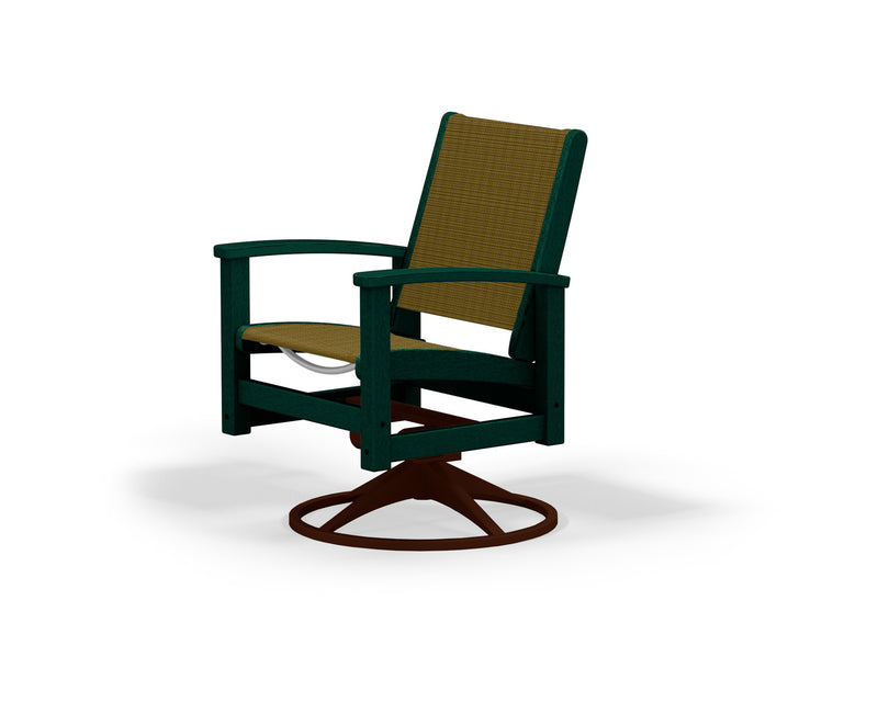 9030-16GR912 Coastal Swivel Rocker in Textured Bronze and Green with a Burlap Sling