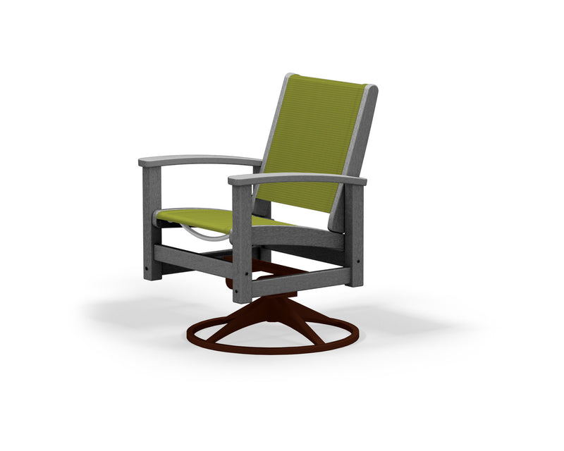 9030-16GY911 Coastal Swivel Rocker in Textured Bronze and Slate Grey with a Kiwi Sling