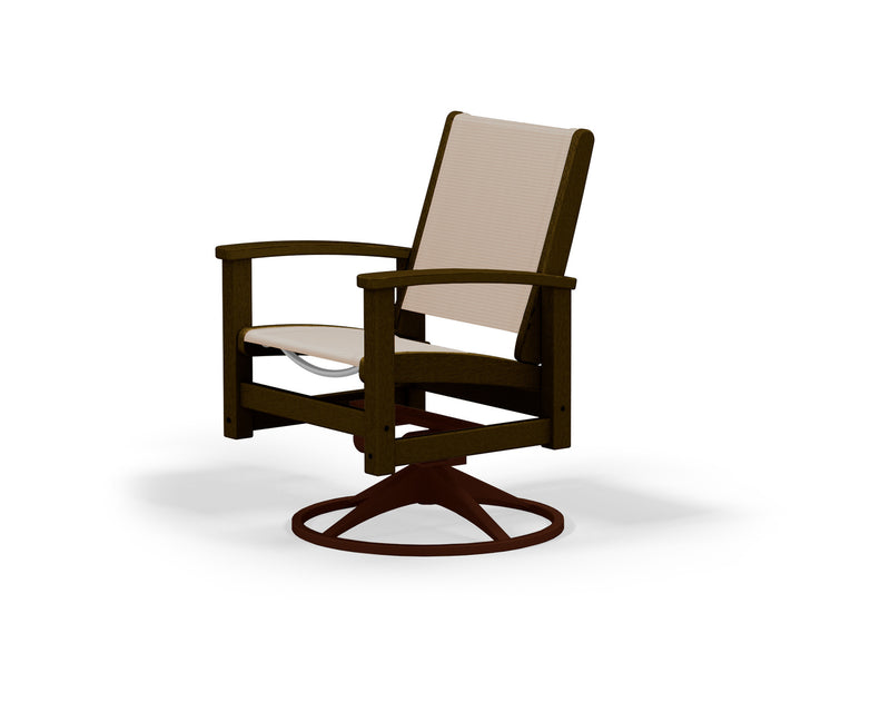 9030-16MA903 Coastal Swivel Rocker in Textured Bronze and Mahogany with a Stucco Sling