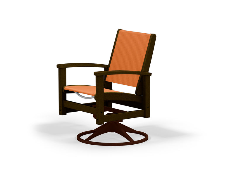 9030-16MA906 Coastal Swivel Rocker in Textured Bronze and Mahogany with a Citrus Sling