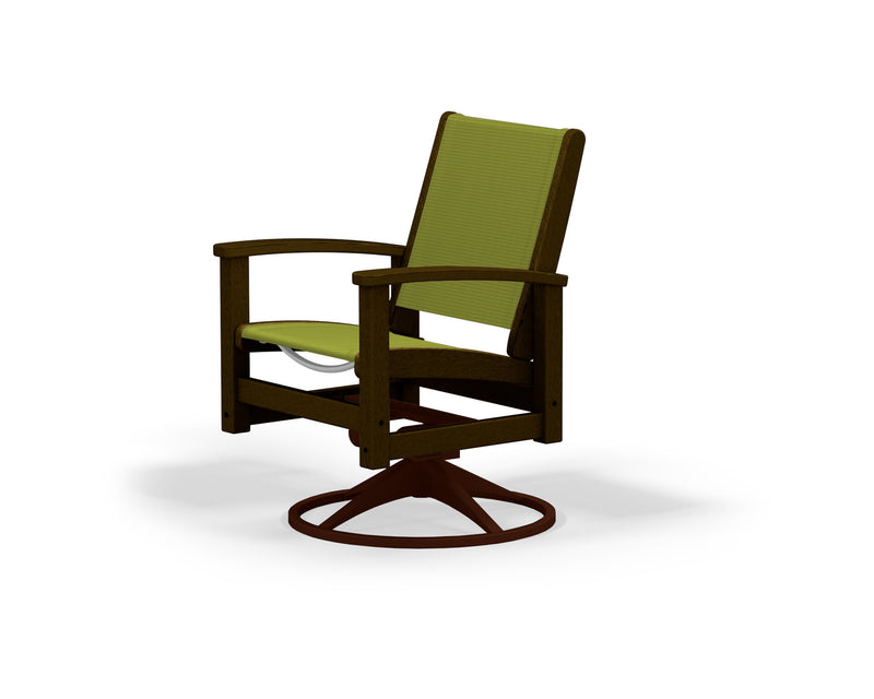 9030-16MA911 Coastal Swivel Rocker in Textured Bronze and Mahogany with a Kiwi Sling