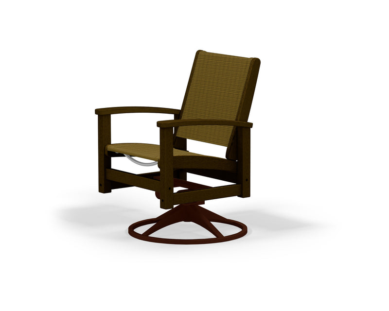 9030-16MA912 Coastal Swivel Rocker in Textured Bronze and Mahogany with a Burlap Sling