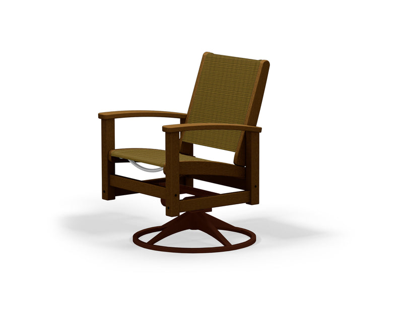 9030-16TE912 Coastal Swivel Rocker in Textured Bronze and Teak with a Burlap Sling