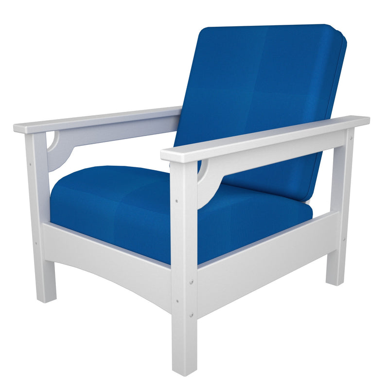 CLC23WH-XUF0015-5401 Club Chair in White with Pacific Blue fabric