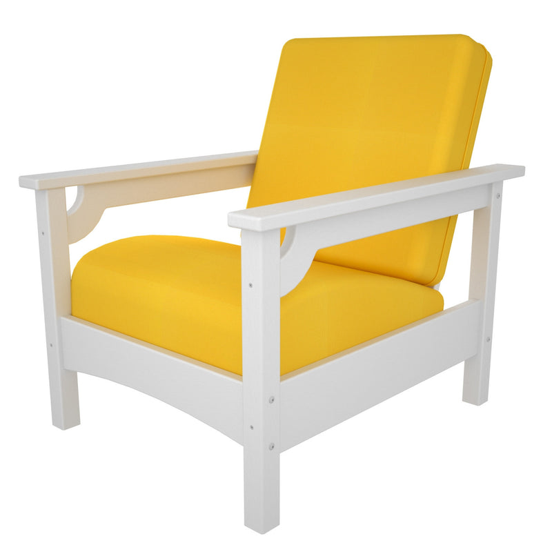 CLC23WH-XUF0015-5457 Club Chair in White with Sunflower Yellow fabric