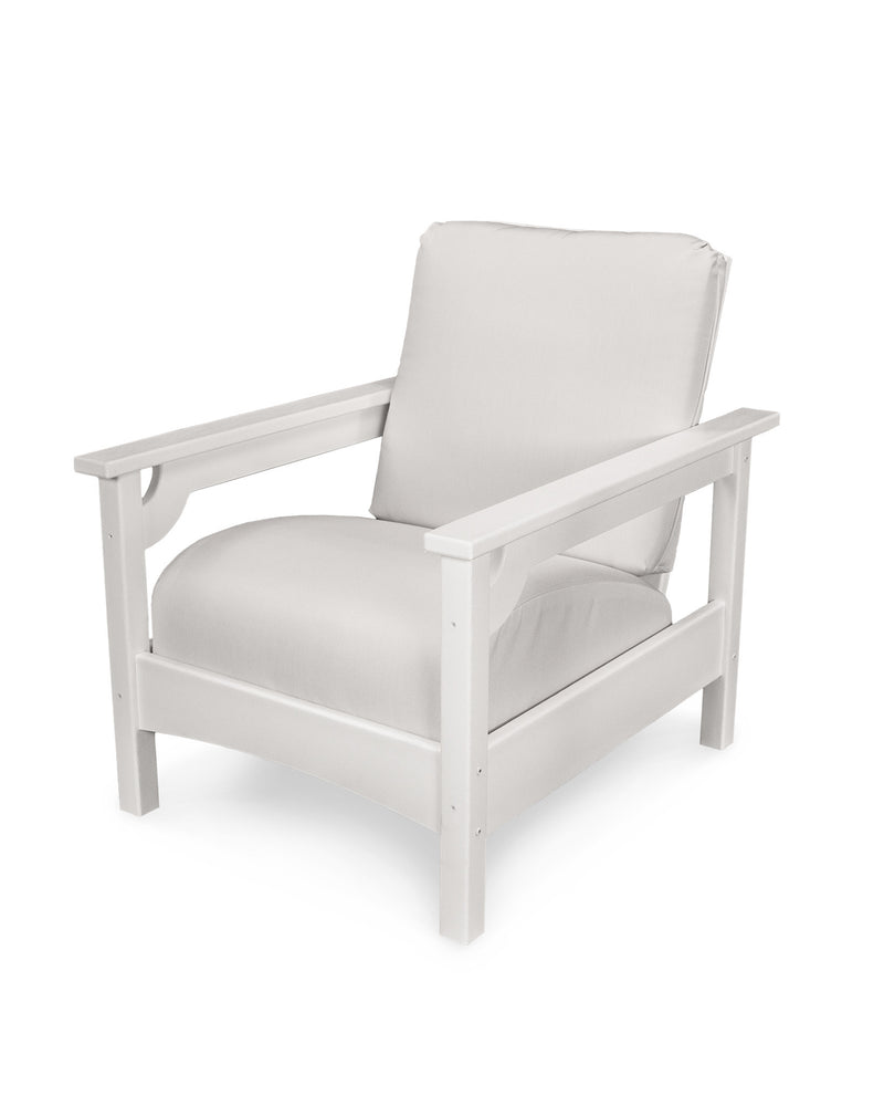 CLC23WH-XUF0015-5472 Club Chair in White with Birds Eye fabric