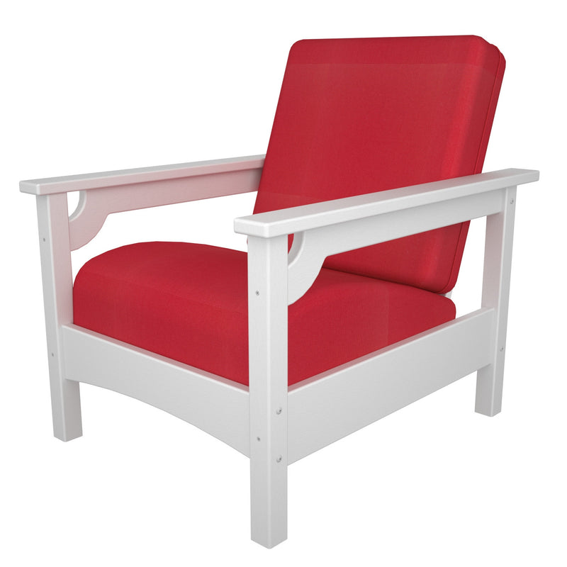CLC23WH-XUF0015-5477 Club Chair in White with Logo Red fabric