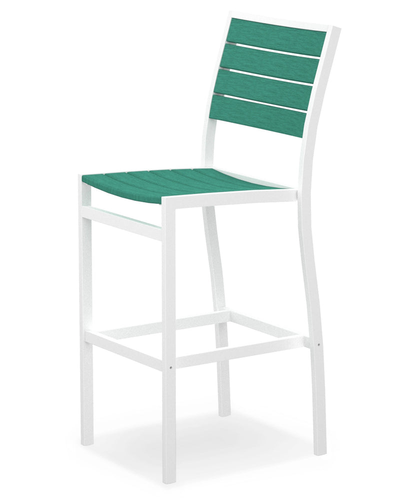 A102-13AR Euro Bar Side Chair in Satin White and Aruba