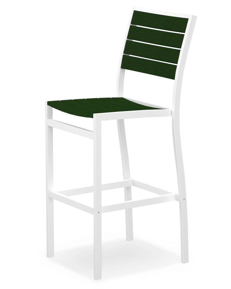 A102-13GR Euro Bar Side Chair in Satin White and Green