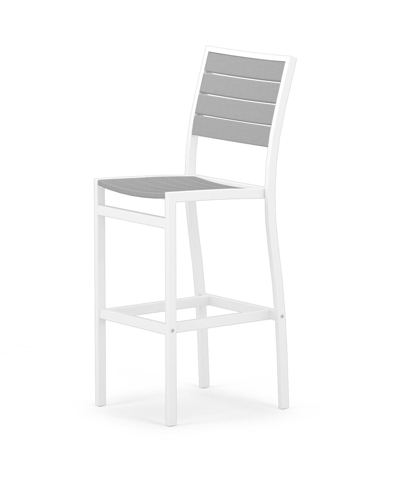 A102-13GY Euro Bar Side Chair in Satin White and Slate Grey