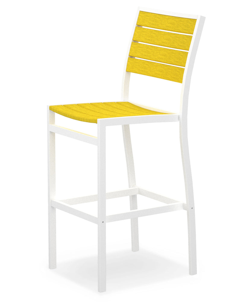 A102-13LE Euro Bar Side Chair in Satin White and Lemon