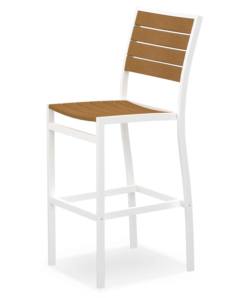 A102-13NT Euro Bar Side Chair in Satin White and Plastique Natural Teak