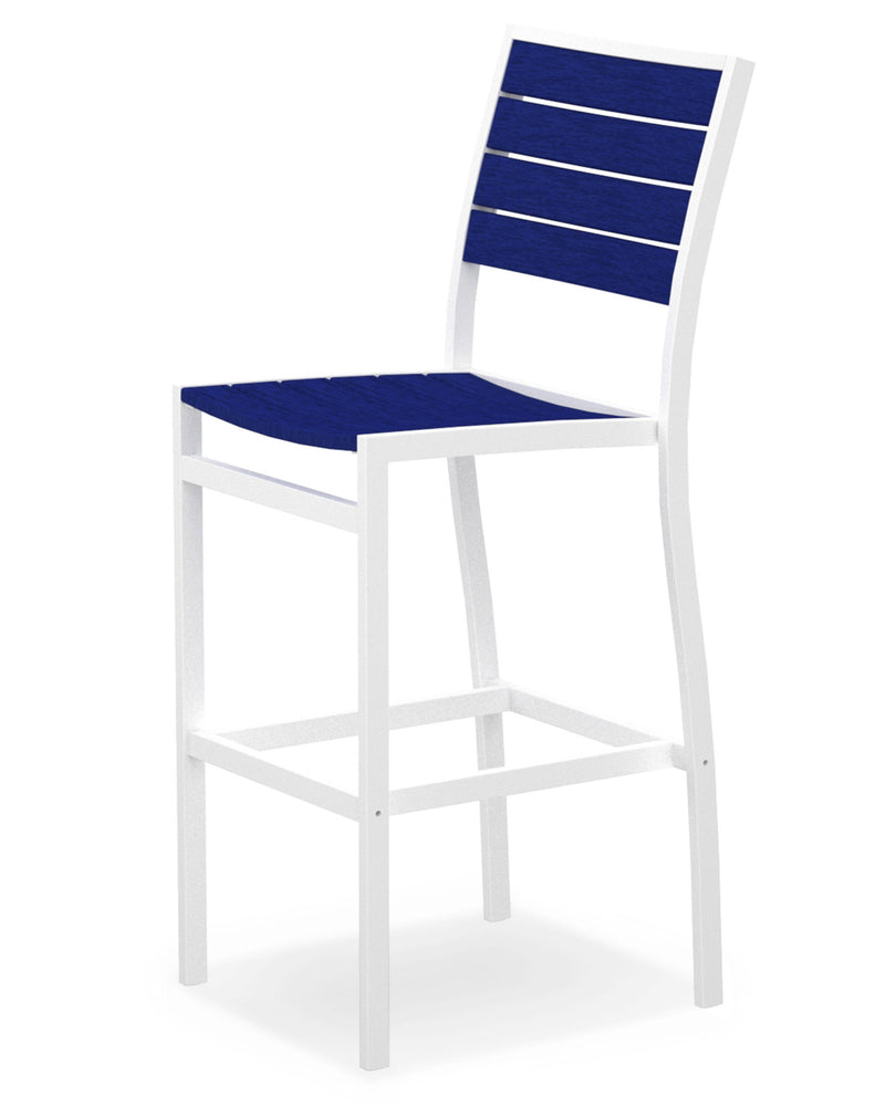 A102-13PB Euro Bar Side Chair in Satin White and Pacific Blue