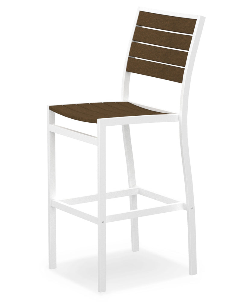 A102-13TE Euro Bar Side Chair in Satin White and Teak