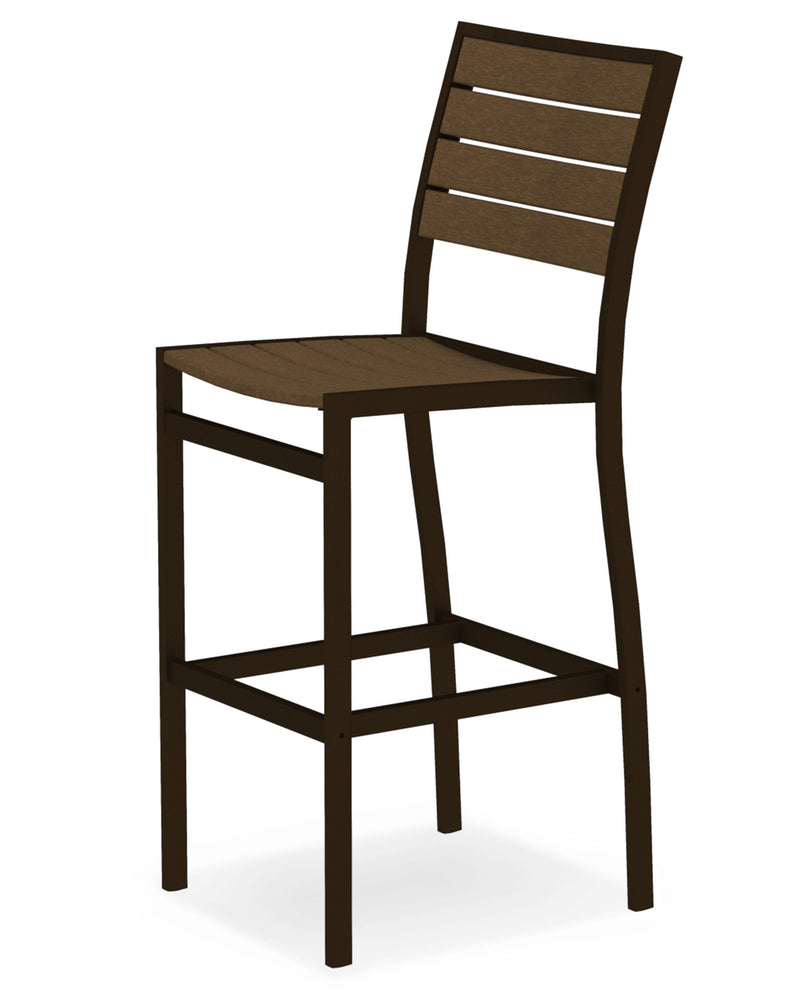 A102-16TE Euro Bar Side Chair in Textured Bronze and Teak