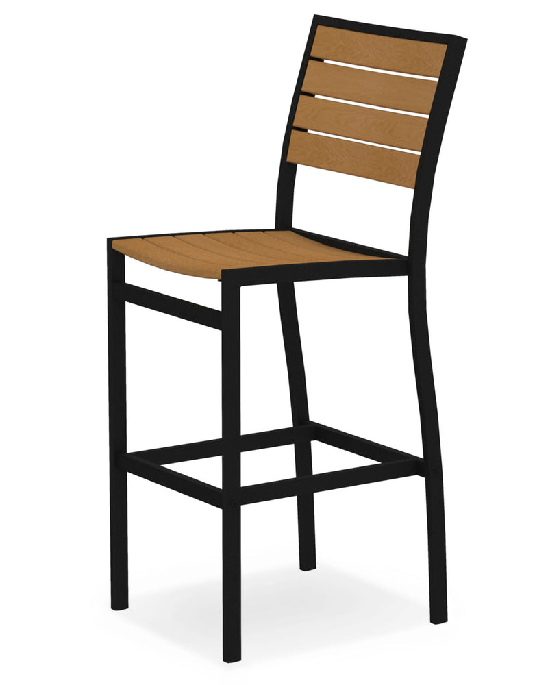 A102FABNT Euro Bar Side Chair in Textured Black and Plastique Natural Teak