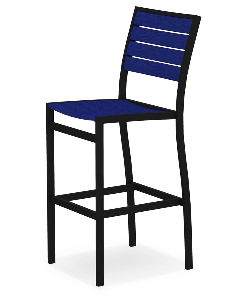 A102FABPB Euro Bar Side Chair in Textured Black and Pacific Blue