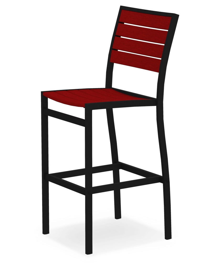 A102FABSR Euro Bar Side Chair in Textured Black and Sunset Red