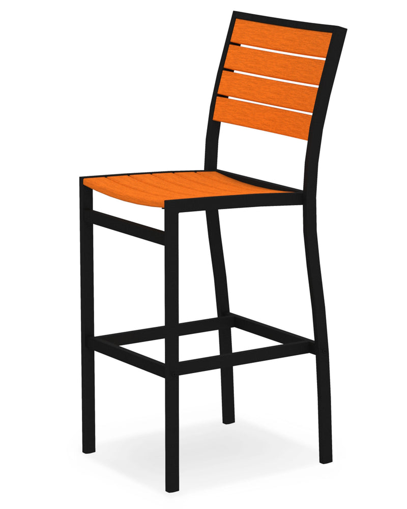 A102FABTA Euro Bar Side Chair in Textured Black and Tangerine