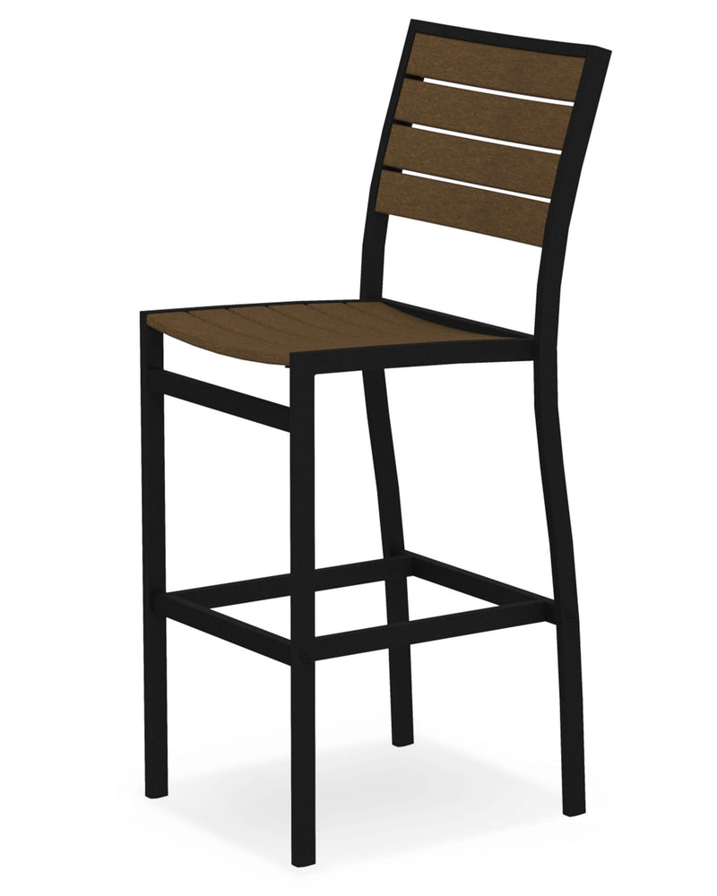 A102FABTE Euro Bar Side Chair in Textured Black and Teak