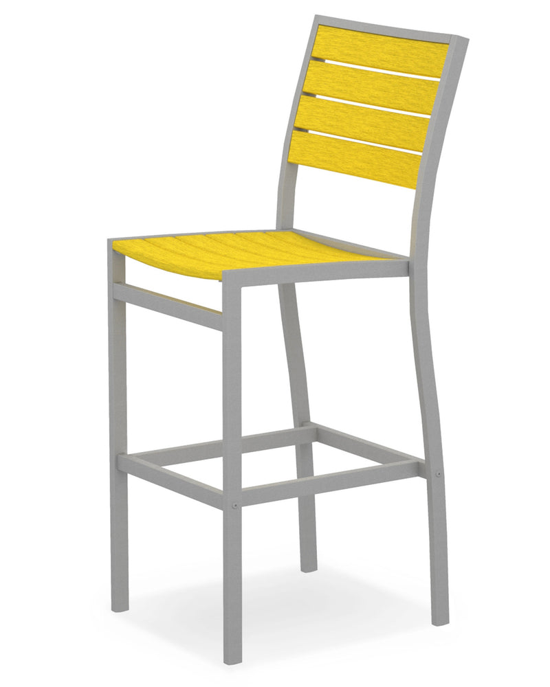 A102FASLE Euro Bar Side Chair in Textured Silver and Lemon
