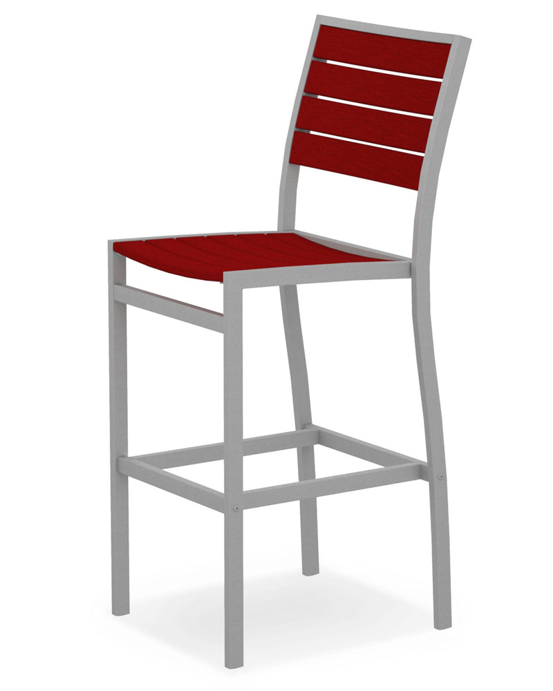 A102FASSR Euro Bar Side Chair in Textured Silver and Sunset Red
