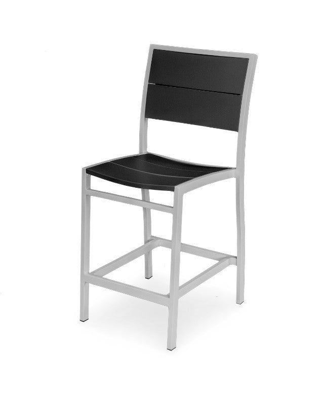 A121-11MBL Metro Counter Side Chair in Textured Silver and Black