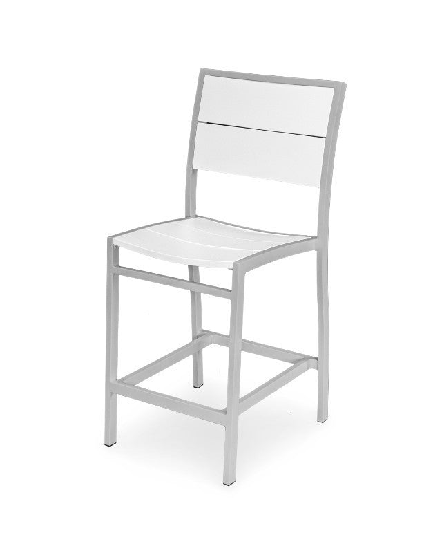 A121-11MWH Metro Counter Side Chair in Textured Silver and White