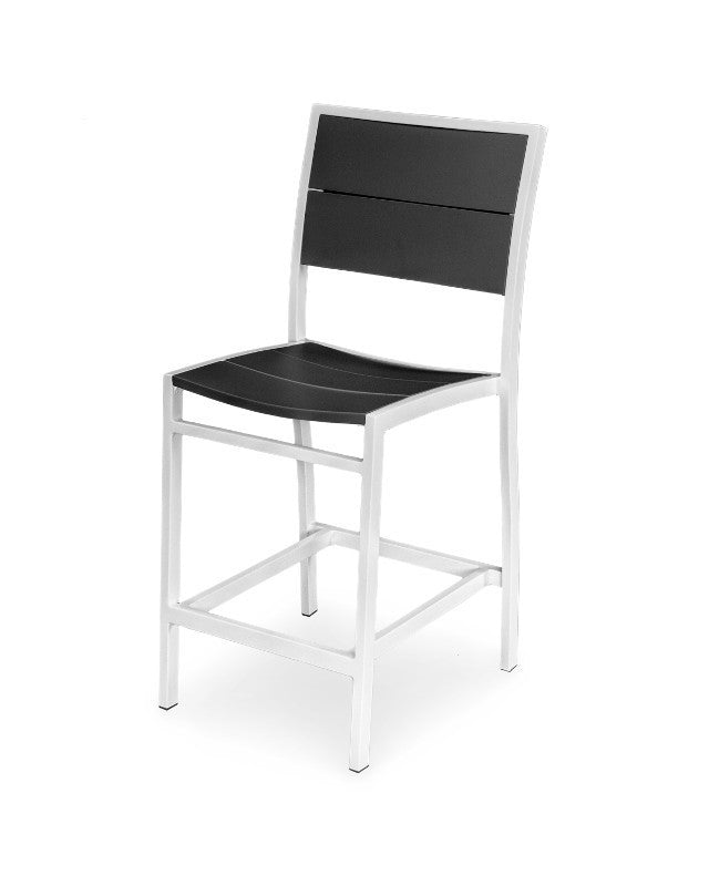 A121-13MBL Metro Counter Side Chair in Satin White and Black