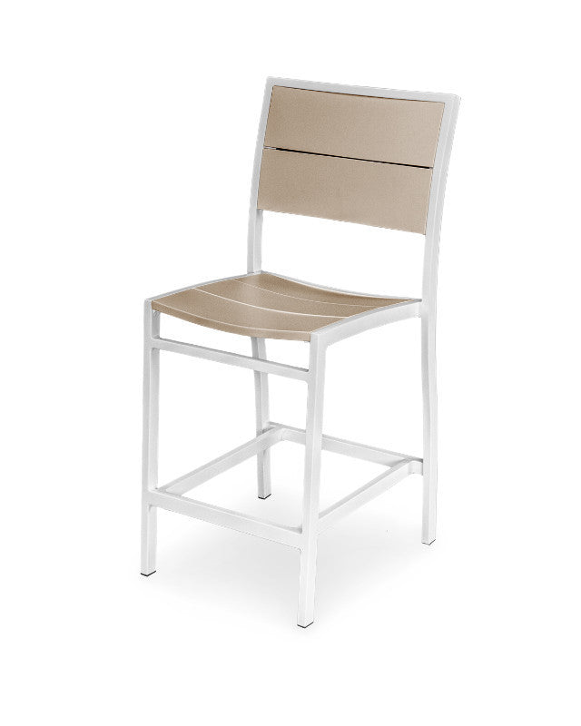 A121-13MSA Metro Counter Side Chair in Satin White and Sand