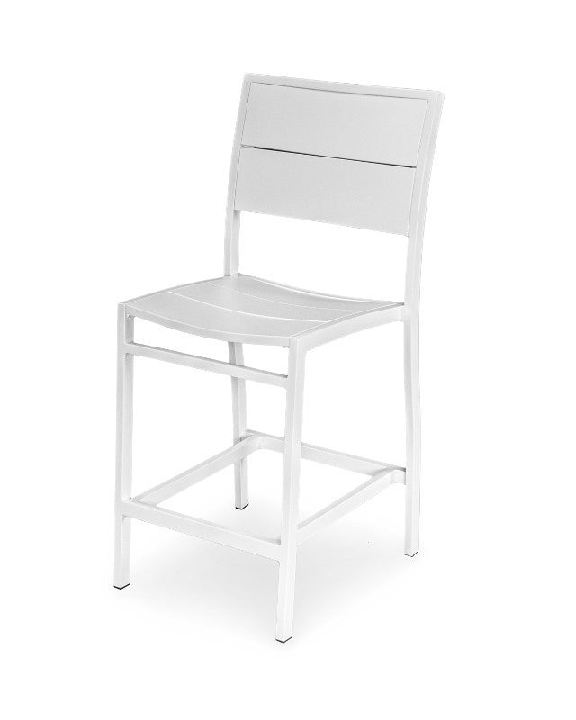A121-13MWH Metro Counter Side Chair in Satin White and White