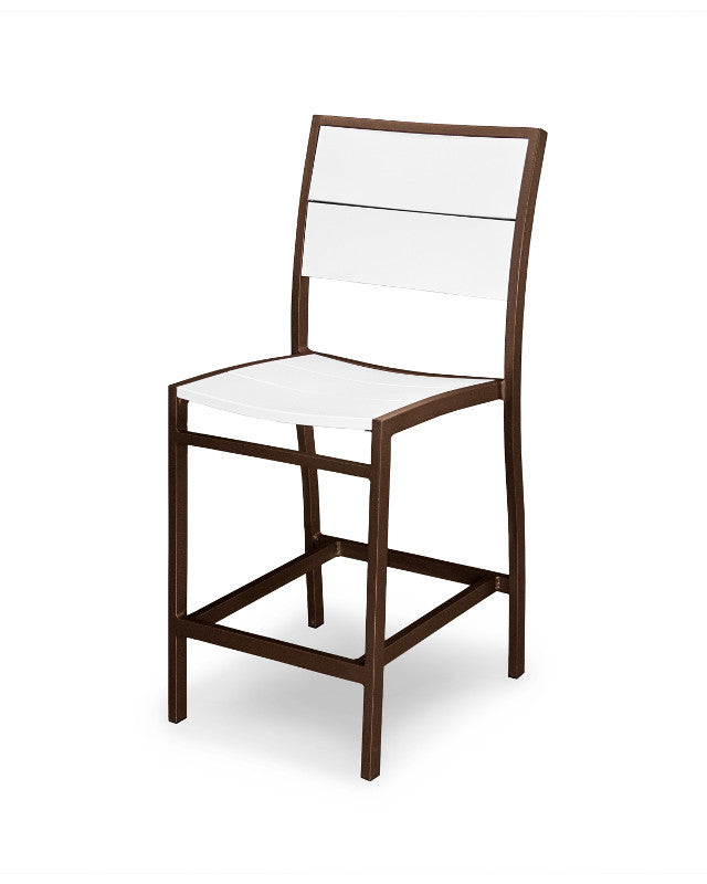 A121-16MWH Metro Counter Side Chair in Textured Bronze and White