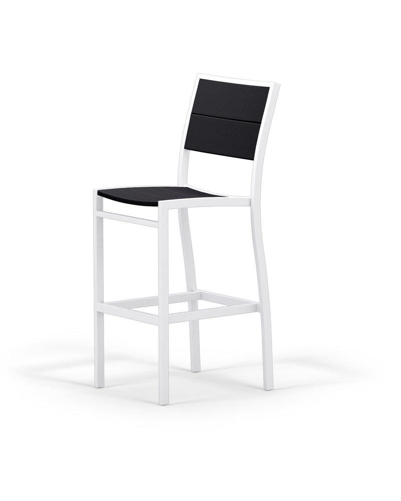 A122-13MBL Metro Bar Side Chair in Satin White and Black