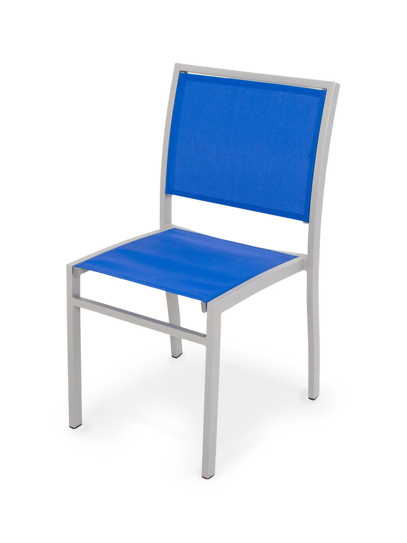 A190-11905 Bayline Dining Side Chair in Textured Silver with a Royal Blue Sling
