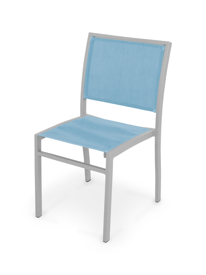 Bayline Dining Side Chair in Textured Silver with a Poolside Sling