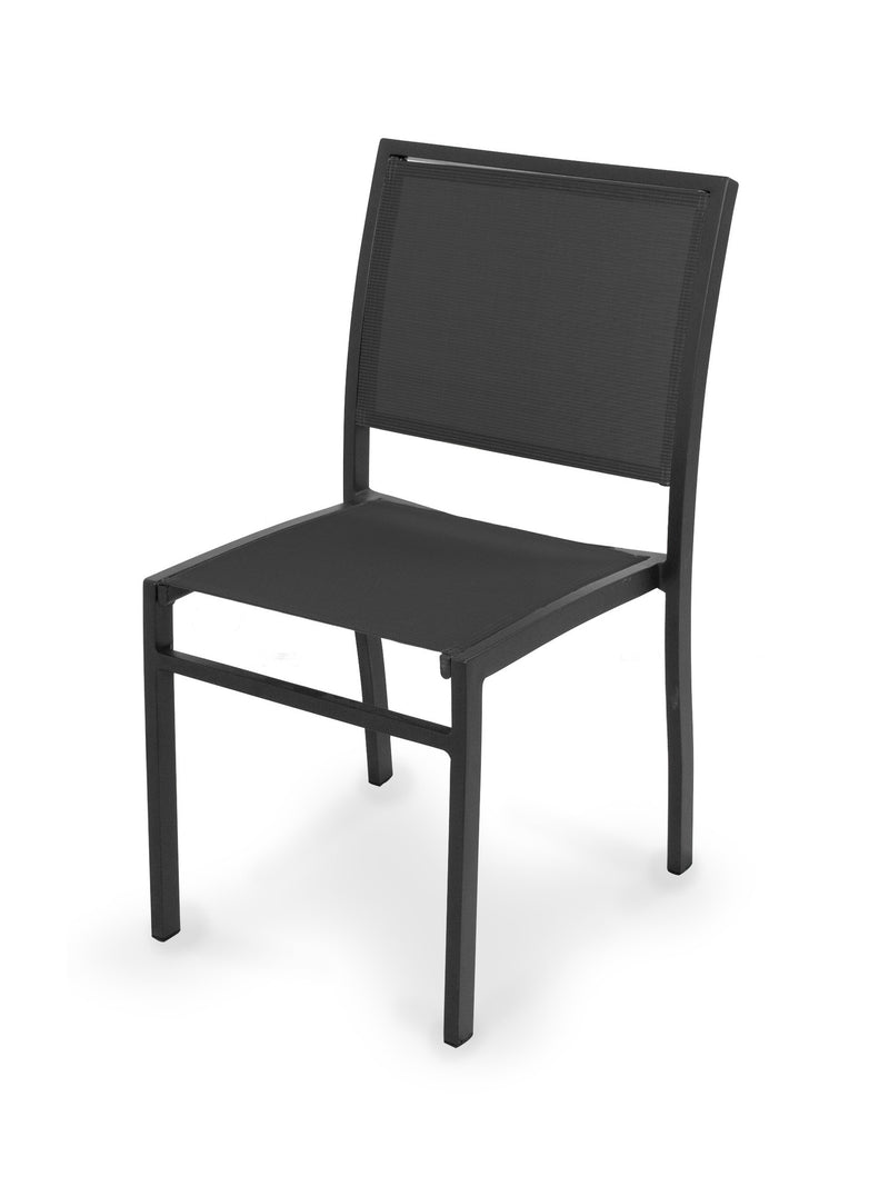 A190-12908 Bayline Dining Side Chair in Textured Black with a Black Sling