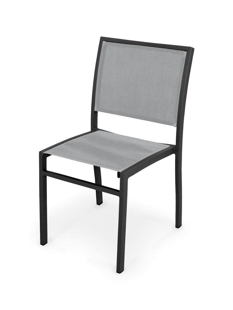 Bayline Dining Side Chair in Textured Black with a Metallic Sling