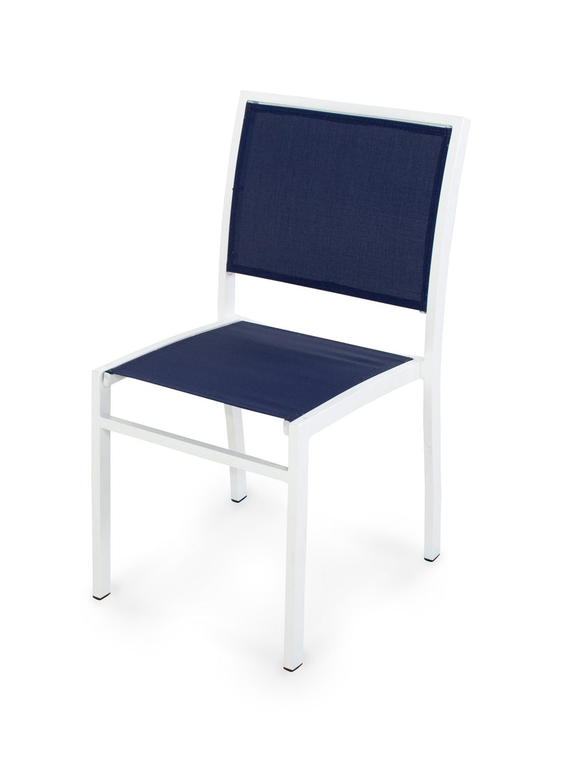 A190-13902 Bayline Dining Side Chair in Satin White with a Navy Blue Sling