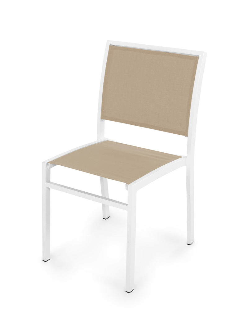 Bayline Dining Side Chair in Satin White with a Stucco Sling