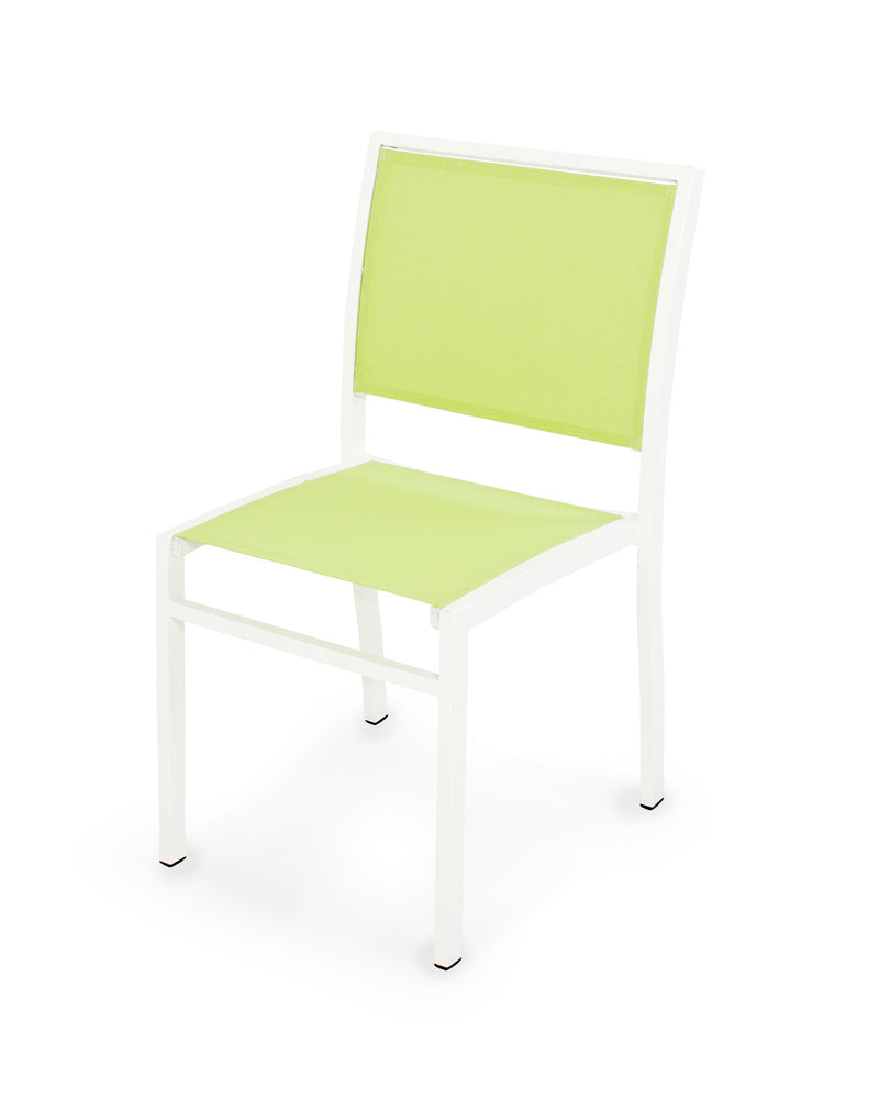 A190-13904 Bayline Dining Side Chair in Satin White with an Avocado Sling