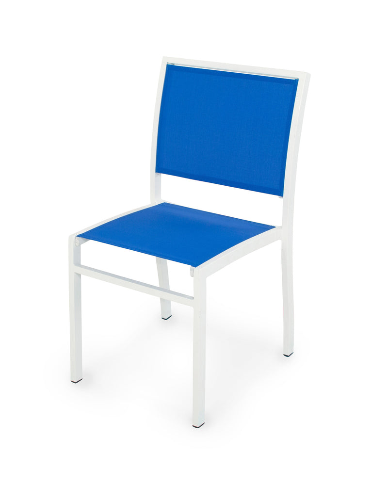 A190-13905 Bayline Dining Side Chair in Satin White with a Royal Blue Sling