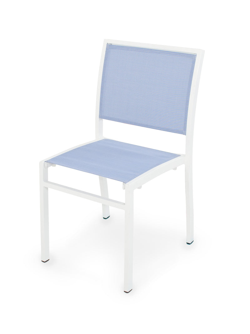A190-13910 Bayline Dining Side Chair in Satin White with a Poolside Sling