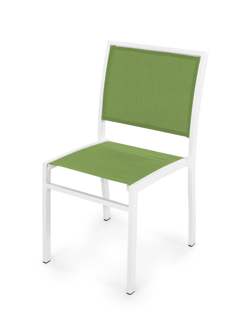 Bayline Dining Side Chair in Satin White with a Kiwi Sling