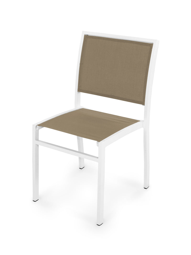 Bayline Dining Side Chair in Satin White with a Burlap Sling