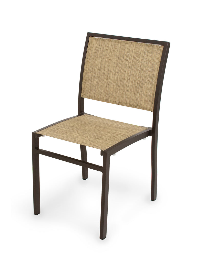 A190-16912 Bayline Dining Side Chair in Textured Bronze with a Burlap Sling