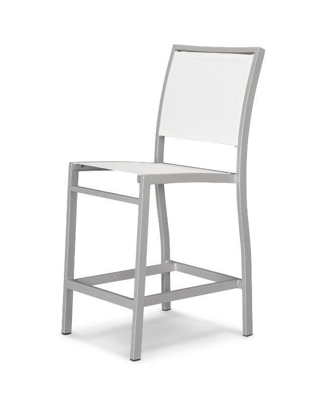 A191-11901 Bayline Counter Side Chair in Textured Silver with a White Sling